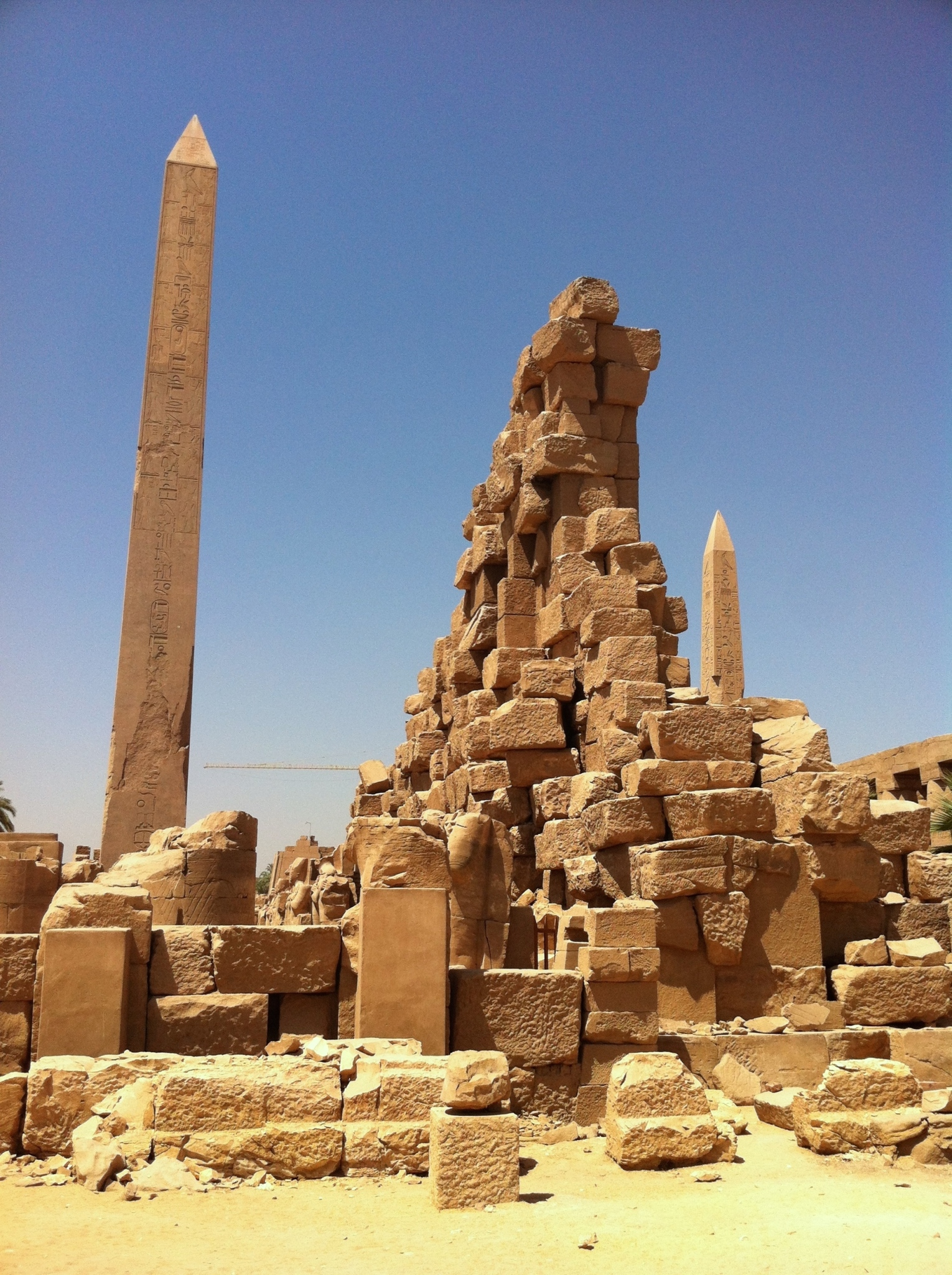 Egyptian obelisks from the reigns of Hatshepsut (left) and Thutmose III (right) from Karnak Temple (authors' photo)
