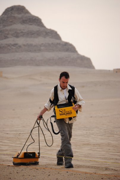 Dr. Price during his geophysics work at Saqqara