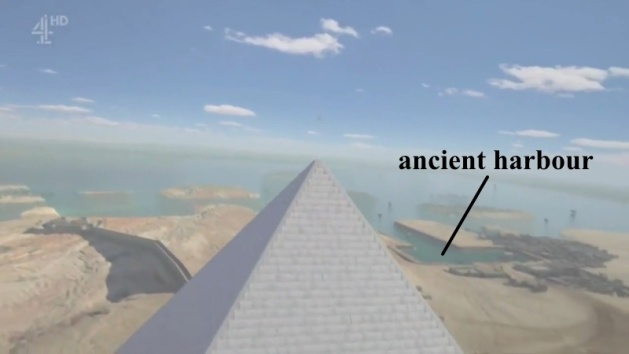 Aerial reconstruction of the pyramid and its surrounding landscape