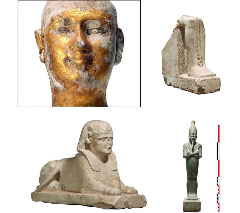 A sphinx and statuettes from a Karnak cache (Photo: J. Maucor/CFEETK-CNRS-MoA)