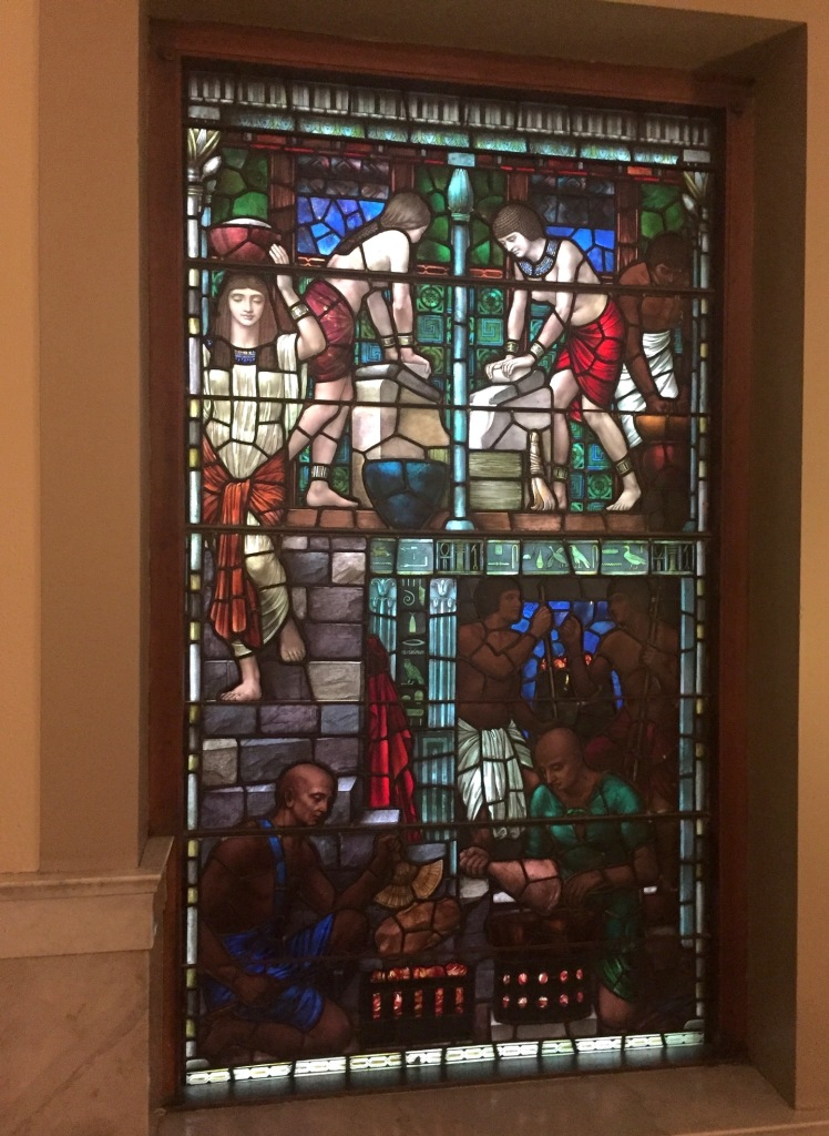 The first stained glass window in the Lillian Massey Building (left-hand side)