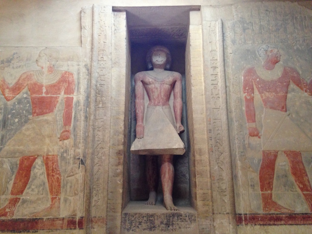 An Egyptian false door from the Sixth Dynasty tomb of Mereruka (authors' photo)