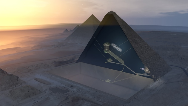 A 3D model of the pyramid with the void visible above the Grand Gallery (Photo: Scan Pyramids)